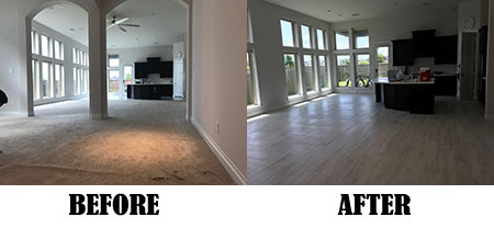 Before and After of Tile Installation - Carpet Removed